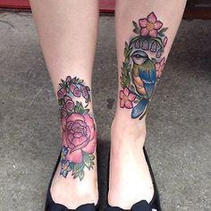 pretty tattoos girly bird tattoo tattooist flower tattoo leg tattoo tattooed legs foot tattoo girly tattoos tattooer pretty tattoos sophiegibbonstattoo soohie gibbons