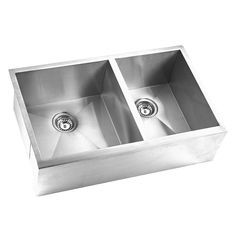 This classic double bowl farmhouse sink makes the perfect addition to any home or business. Its traditional stainless steel construction includes sound deadening insulation and undercoated rubber padd