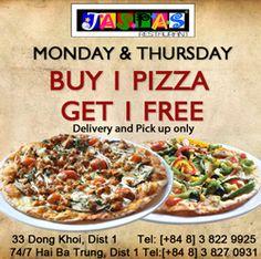 Khuyến mãi Jaspas mua 1 pizza tặng 1 pizza vào thứ 2 và thứ 5