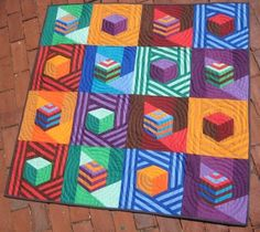 Modern Tumbling Blocks Baby Quilt