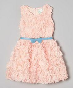 Another great find on #zulily! Light Pink & Blue Rosette Bow Dress - Toddler & Girls #zulilyfinds