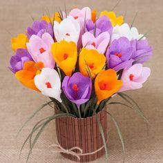 Crocus Bouquet - Crepe Paper Flowers - Paper Flowers - Anniversary - Spring Flowers - Nursery Decor