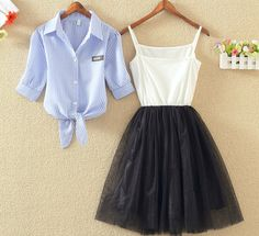 """Sweet shirt + condole dress two-piece outfit Coupon code """"cutekawaii"""" for 10% off"""