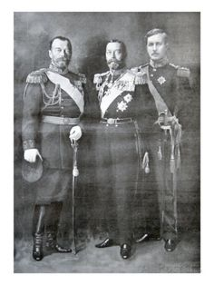 Tsar Nicholas II of Russia, King George V of Great Britain and King Albert I of Belgium, 1914 Cultura General, Tsar Nicholas, Imperial Russia, World War One, Anastasia, Historical Pictures, King George, Figurative Art, Great Britain