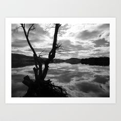 Loch Rannoch I Art Print by Amber Edmond - $15.00 #nature #landscape #blackandwhitephotography #scotland #perthshire #lochrannoch #reflection