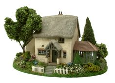 1:48th Hedgerow Cottage, Garden Room & Garden Base By Bea Broadwood of www.petite-properties.com (image shows constructed, decorated & landscaped kits)
