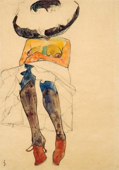 'Seated Semi-nude with Hat and Purple Stockings (Gerti)' 1910  Egon Schiele. Black crayon, gouache and watercolour on paper: 44.9 x 31.7 cm.