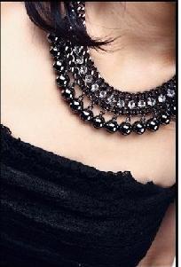 Beautiful Dark Silver Multi Rhinestone & Dangling Ball Necklace w/Extender~Free Shipping