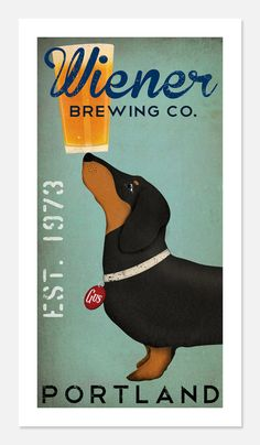 Made to Order - DACHSHUND Wiener Dog Brewing Company graphic art giclee print 10x20 inches SIGNED via Etsy