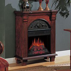 Regent Antique Mahogany Electric Fireplace Petit Foyer Mantel Package - 18PF338-M215