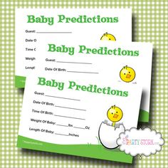 Printable Baby Shower Prediction Game Baby Shower by thepartystork, $5.99