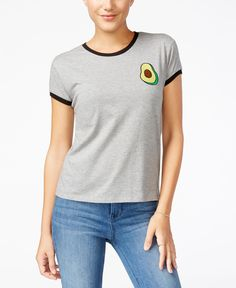 Mighty Fine Juniors' Guac Patch Graphic Ringer Tee