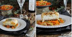 Papillot de merluza en pasta brick con verduras