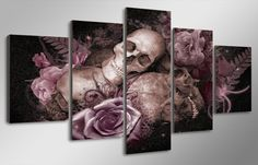Skulls and Roses Panel Wall Art on Canvas Home Decor Print Framed UNframed 5 Piece Canvas Art, Modern Canvas Art, Canvas Artwork, Canvas Art Prints, Canvas 5, Canvas Poster, Painting Canvas, Framed Canvas, Canvas Size