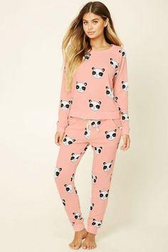 A pair of knit pajama pants featuring a happy panda print and an elasticized waist. Matching tee available. Loungewear Outfits, Pajama Outfits, Satin Pyjama Set, Pajama Set, Womens Fashion Online, Latest Fashion For Women, Panda Pyjamas, Look Fashion, Fashion Outfits