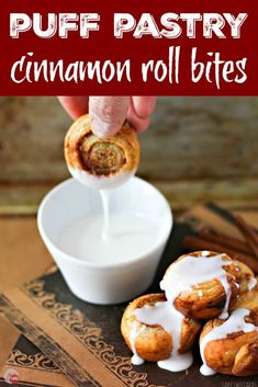 Puff Pastry Cinnamon Roll Bites | Take Two Tapas | #PuffPastry #CinnamonRolls #Breakfast #mini