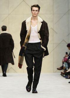 Sueded sheepskin jacket, white cotton fisherman stitch vest and geometric check cashmere scarf