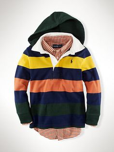 Striped Hooded Rugby - Rugbys   Boys 2-7 - RalphLauren.com