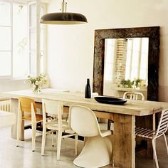 Wood table with unmatching chairs