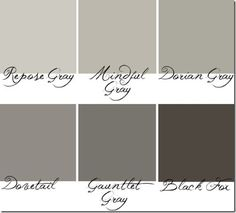 From Hyphen Interiors: Anything on this strip at Sherwin Williams – SW7015- SW7020, or Repose Grey to Black Fox    I love these greys because they are true greys; without leaning towards an awkward baby blue or an annoying twinge of green.