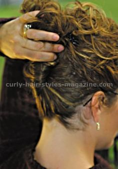 Curly hair looks. Hairstyle ideas. Easy up style hairdo guide. Tips for styling curly hair. Long hair formal updo style. Strictly Curls. Nicole Siri.