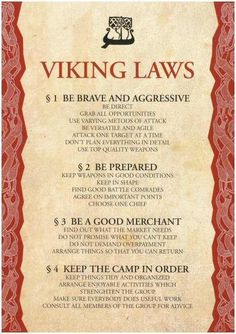 Viking Laws - 4 noble virtues - Google Search