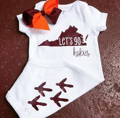 Dress up your little Hokie fan this season with this ⬆️ and a matching bow