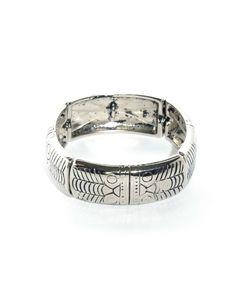 Pulseira prata com placas de metal - Acessórios - Doll's Boutique