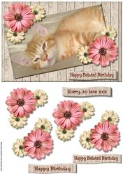 Belated Birthday Cute Kitten on Craftsuprint - View Now!