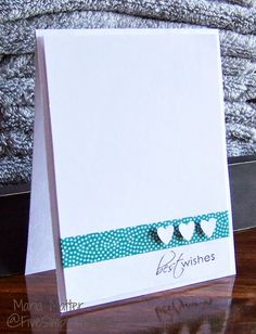 Five Simple Things: A Clean & Simple Wedding Card, Washi tape, Stampin' Up hearts punch, CAS bridal shower, Hero Arts stamps