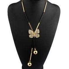 Elegant Butterfly Long Beaded Chain Tassel Necklace Women Rhinestone Office Lady Accessory Bohemia Costumes Jewelry Bijoux
