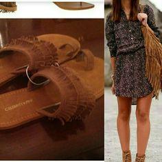 SALE Fringe sandals Brand-new never worn fringe flip flops. Color is daek brown. Perfect for spring and FESTIVAL SEASON!  NO TRADES Celebrity Pink Shoes Sandals