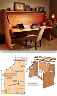 Bed-Desk Combo - Furniture Plans and Projects - Woodwork, Woodworking, Woodworking Plans, Woodworking Projects Space Saving Furniture, Home Decor Furniture, Furniture Projects, Wood Furniture, Home Projects, Woodworking Furniture Plans, Diy Woodworking, Tyni House, Patterned Furniture