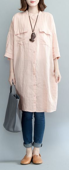 pink linen knee dress plus size clothing traveling dress 2018 bracelet sleeved stand collar cotton shirt dresses