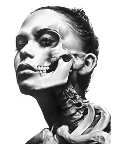 (notitle) - Tattoo vorlagen - Tattoo Designs For Women Black And White Portraits, Black And Grey Tattoos, Girl Face, Woman Face, Skull Tattoos, Sleeve Tattoos, Dark Photography, Portrait Photography, Tattoo Arm Frau