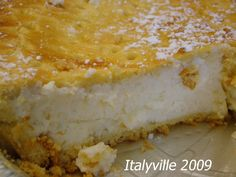 Ricotta Pie, a traditional Italian lemony cheesecake-type confection that's put out usually at holidays. I'm not sure if this recipe is any good or not.