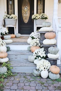 Rustic Cottage Farmhouse Fall Porch Steps - Liz Marie Blog
