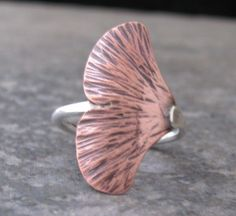 amazing handmade copper jewelry / Silver  Copper Leaf Ring  #copper #jewelry