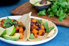 Vegetarian sweet potato and black bean tacos