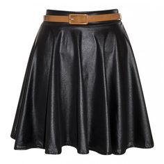 Taylor Black Wet Look Belted Skater Skirt (€23) ❤ liked on Polyvore featuring skirts, circle skirts, shiny skirt, wet look skater skirt, skater skirts and wet look skirt