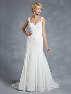 Style * HENDERSON * » Blue 2015 Collection » by Enzoani » Available Colours : Ivory, White ~ Shown with Floral Appliqué accented Straps.