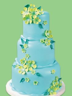 Turquoise and Pastel Green Fondant Tiered Cake