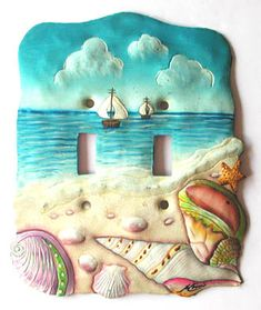 Hand painted metal light switchplate cover - Tropical Decor Sea Shell Design, Light Switch Cover, Light Switch Plate , Switchplates by SwitchPlateDecor on Etsy Decorative Light Switch Covers, Switch Plate Covers, Light Switch Plates, Tropical Design, Tropical Decor, Décor Tropical, Coastal Decor, Painted Metal, Hand Painted