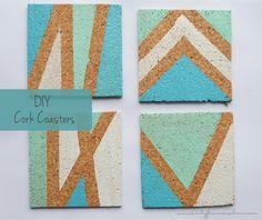 DIY easy painted cork coasters