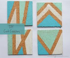 DIY easy painted cork coasters