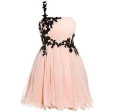 Pink chiffon dress with black lace detail Flower Dresses, Cute Dresses, Short Dresses, Prom Dresses, Formal Dresses, Dress Prom, Pink Chiffon Dress, Pink Dress, Pink Lace
