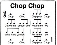 Chop Chop Chippity Chop a fun Orff activity in time. using solfege sol, la, mi, do Use with telling a story like Stone Soup. Orff Activities, Kindergarten Activities, Kindergarten Music Lessons, Elementary Music Lessons, Music Education Games, Music Songs, Music Games, Rhythm Games, 6 Music