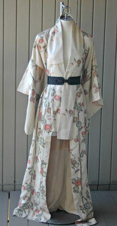 Vintage Kimono Robe Japanese Authentic Full Length Kimono Dress Yellow  Floral Brocade Kimono 57db4a2dd