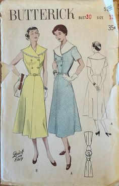 "VTG 5296 Butterick (1950) capelet collared dress.Quick & Easy. Size 12, Bust 30"". Complete, unused, perforated. Excellent vintage condition. by ThePatternParlor on Etsy"