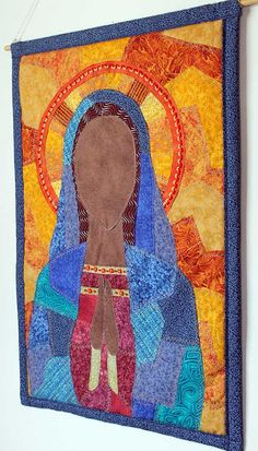 Art quilt of Virgin Mary by native American artist.